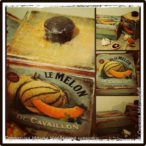"""Набор для кухни """"Сладкая дынька"""" Декупаж с распечаткой, сложное окрашивание, состаривание битумом, потертости. Внутри водная морилка и итальянский воск фото 1"""