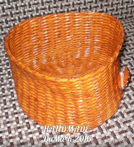 """Всём привет! Я занимаюсь плетением) В этом блоге покажу вам некоторые свои последние работы!  №1 Вот такая шкатулка с винтажной девчушкой! Трубочки  из писчей бумаги, розовые трубочки покрашены колером  с водичкой и лаком, коричневые водная морилка! Всё покрыто клеем ПВА  с водой, и 2 слоя лака """"Евротекс""""! фото 5"""
