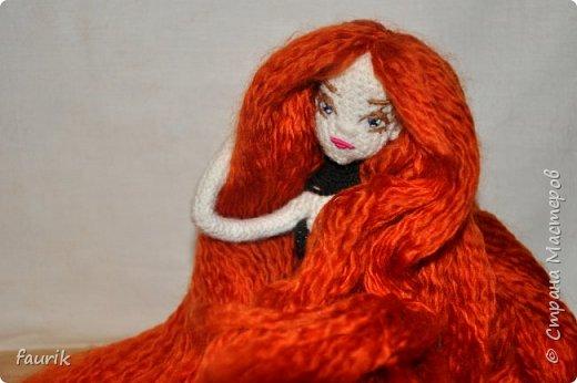 Новенькая девочка, 27 рост. Волосы акрил, крючок 0,75, проволочный каркас фото 18