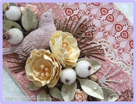 покажу еще открытку с самодельными цветами. Использовала бумагу от C.h.e.a.p.-art Корица и Капучино. Так же использовала сизаль, большое количество вырубки, фигурку из пластика Птичка, которую сделала сама, сахарные ягодки, граненные камушки, бисер, микробисер и цветы. Все цветы, кроме маленьких желтых роз, сделала сама. фото 3