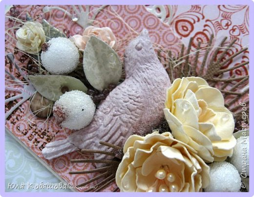 покажу еще открытку с самодельными цветами. Использовала бумагу от C.h.e.a.p.-art Корица и Капучино. Так же использовала сизаль, большое количество вырубки, фигурку из пластика Птичка, которую сделала сама, сахарные ягодки, граненные камушки, бисер, микробисер и цветы. Все цветы, кроме маленьких желтых роз, сделала сама. фото 4