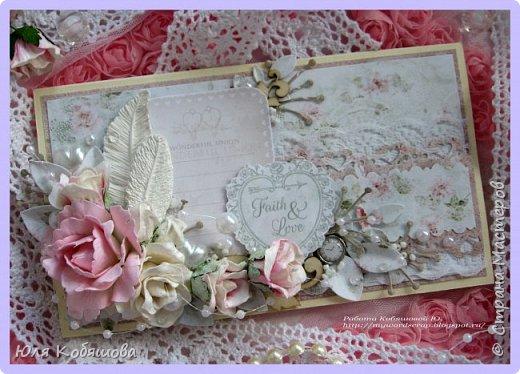 Хочу показать нежный конвертик. Использовала бумагу от Bee Shebby Wedding, высечки этой же коллекции, кружево, цветочки, пластиковые самодельные украшения, вырубку, брадс, чипборд, полубусинки, бисер, микробисер и бусинки на леске.  фото 2