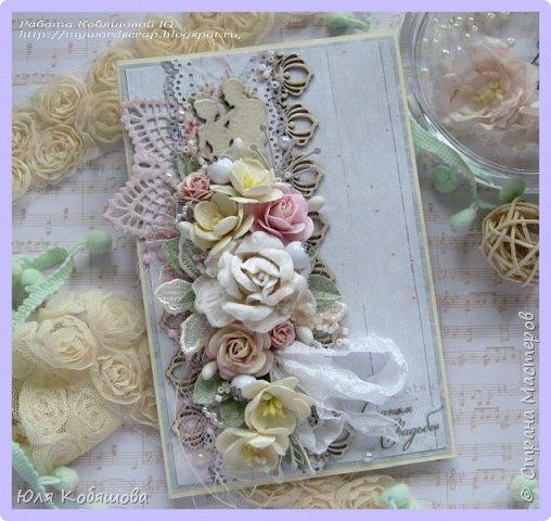 Здравствуйте, мои хорошие! Хочу показать  очередную порцию открыток.  Использовала чипборд от Chipboards.ru Чудоцвет.  Как делаю часто, разрезала его на части и распределила по всей композиции. Так же использовала сизаль, вырубку, цветок, шебби ленту, вощеный шнур, перышки из пластика, полубусинки, микробисер, Flower Soft. фото 12