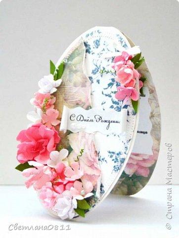 Овальная открытка с цветами