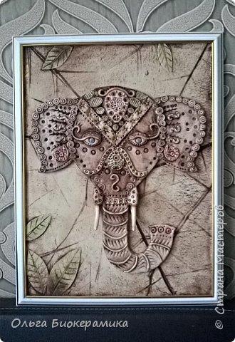 """Панно """"Индийский слон"""". 30х40см. фото 3"""