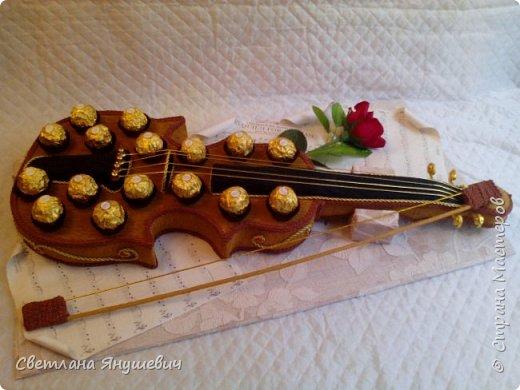 Скрипочка для настрящего музыканта.  Делала я ее с помощью МК Натальи Пецкус.  фото 4