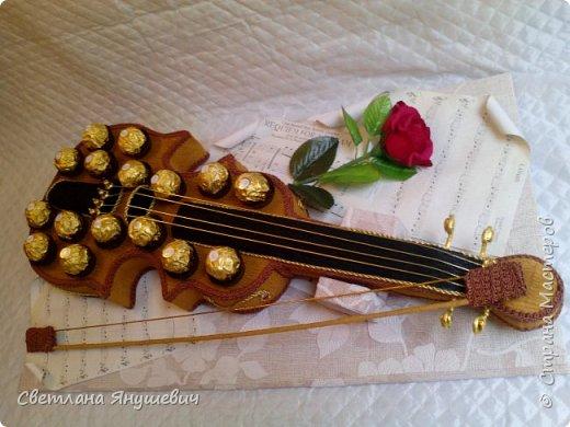 Скрипочка для настрящего музыканта.  Делала я ее с помощью МК Натальи Пецкус.  фото 6