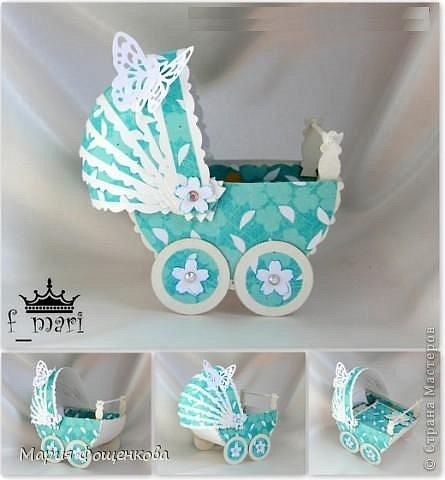 Детская колясочка - коробочка для денежного подарка