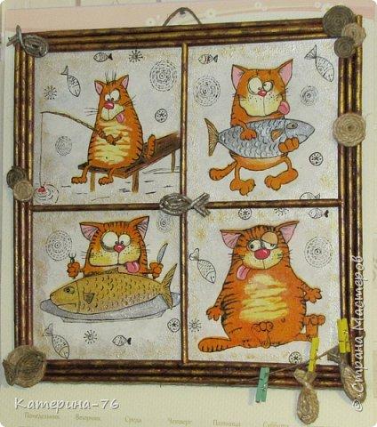 Доброго Вам времени суток, дорогие соседи! Я к вам с шуточным панно про кота-рыбака... Это панно делала для одного хорошего человека на работе как подарок на день рождения.... фото 1