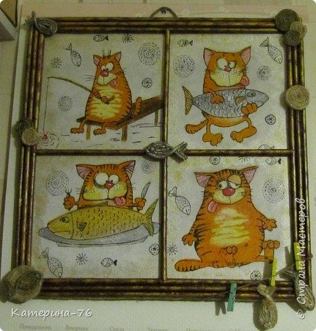 Доброго Вам времени суток, дорогие соседи! Я к вам с шуточным панно про кота-рыбака... Это панно делала для одного хорошего человека на работе как подарок на день рождения.... фото 12