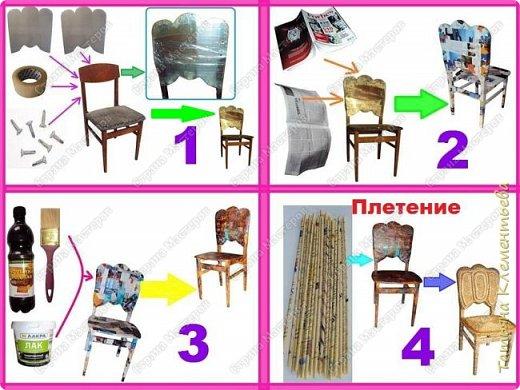 Продолжаю реставрировать старые стулья методом плетения из газетных трубочек. Изменяю форму спинки стула, обклеиваю старыми газетами и журналами, плету, начиная с боковой  части спинки стула. Более подробно смотрите на видео, ссылка в конце фото-мастер-класса. Переднюю часть стула сплела сегментным плетением. Это уже третий стул. Предыдущие можно посмотреть здесь  http://stranamasterov.ru/node/1002565  фото 4