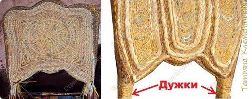 Продолжаю реставрировать старые стулья методом плетения из газетных трубочек. Изменяю форму спинки стула, обклеиваю старыми газетами и журналами, плету, начиная с боковой  части спинки стула. Более подробно смотрите на видео, ссылка в конце фото-мастер-класса. Переднюю часть стула сплела сегментным плетением. Это уже третий стул. Предыдущие можно посмотреть здесь  http://stranamasterov.ru/node/1002565  фото 10