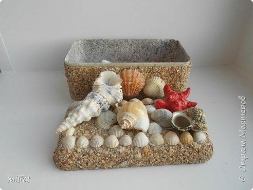Обожаю морскую тему,....После отдыха с чёрного моря привезла ракушки и морской песок в очередной раз,родились вот такие шкатулочки.Я думаю,актуальная тема в разгар лета. Покажу в полном объёме. фото 11