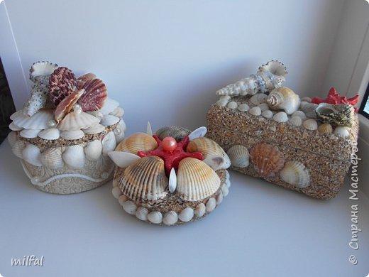 Обожаю морскую тему,....После отдыха с чёрного моря привезла ракушки и морской песок в очередной раз,родились вот такие шкатулочки.Я думаю,актуальная тема в разгар лета. Покажу в полном объёме. фото 1