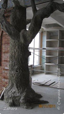 """Этот дуб """"вырос"""" с моей помощью в музейной комнате строительного лицея. Высота ок. 4 метров, ствол - кирпичи, кора - штукатурка.  фото 4"""