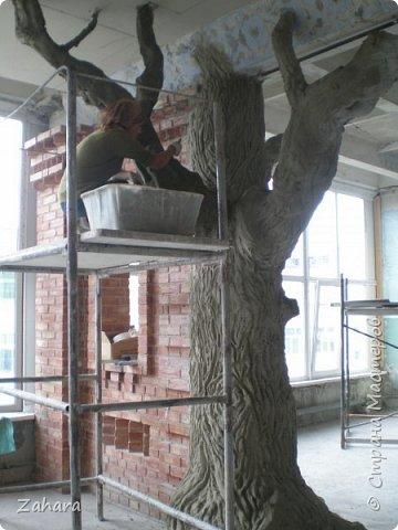 """Этот дуб """"вырос"""" с моей помощью в музейной комнате строительного лицея. Высота ок. 4 метров, ствол - кирпичи, кора - штукатурка.  фото 3"""
