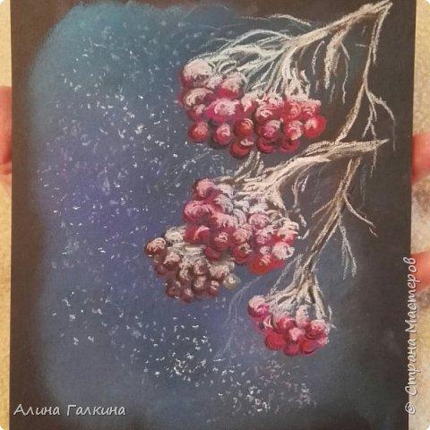 Здравствуйте, дорогие любители рисовать! Сегодня хочу поделиться с вами своим творческим настроением! давайте нарисуем рябину в снегу! фото 15