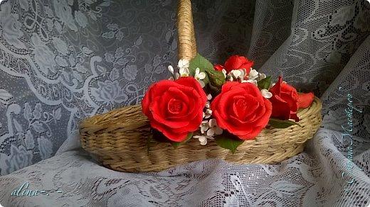 """Корзинка №1.Лепили цветы из глины """"Mоdena Soft"""",а листья из глины """"Fleur"""".Плетение-верёвочка из 2-х трубочек.Загибка из 4-х трубочек. фото 4"""