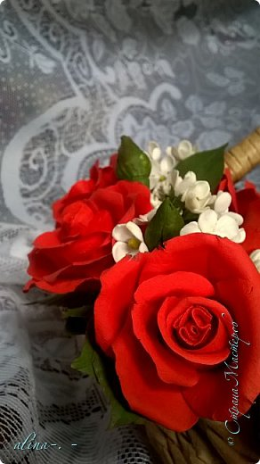 """Корзинка №1.Лепили цветы из глины """"Mоdena Soft"""",а листья из глины """"Fleur"""".Плетение-верёвочка из 2-х трубочек.Загибка из 4-х трубочек. фото 7"""