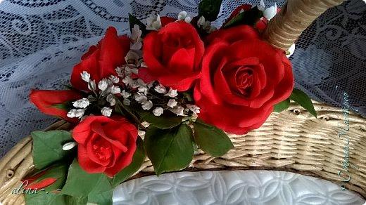 """Корзинка №1.Лепили цветы из глины """"Mоdena Soft"""",а листья из глины """"Fleur"""".Плетение-верёвочка из 2-х трубочек.Загибка из 4-х трубочек. фото 9"""