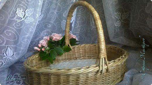 """Корзинка №1.Лепили цветы из глины """"Mоdena Soft"""",а листья из глины """"Fleur"""".Плетение-верёвочка из 2-х трубочек.Загибка из 4-х трубочек. фото 11"""