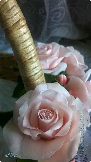 """Корзинка №1.Лепили цветы из глины """"Mоdena Soft"""",а листья из глины """"Fleur"""".Плетение-верёвочка из 2-х трубочек.Загибка из 4-х трубочек. фото 13"""