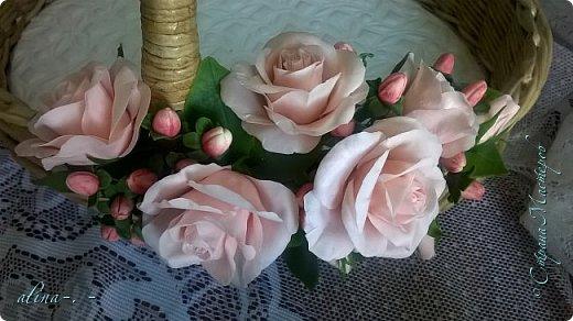 """Корзинка №1.Лепили цветы из глины """"Mоdena Soft"""",а листья из глины """"Fleur"""".Плетение-верёвочка из 2-х трубочек.Загибка из 4-х трубочек. фото 14"""
