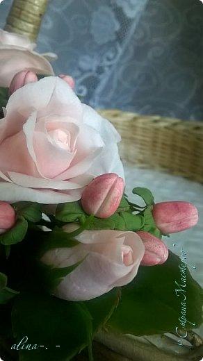 """Корзинка №1.Лепили цветы из глины """"Mоdena Soft"""",а листья из глины """"Fleur"""".Плетение-верёвочка из 2-х трубочек.Загибка из 4-х трубочек. фото 16"""