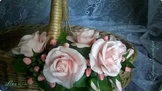 """Корзинка №1.Лепили цветы из глины """"Mоdena Soft"""",а листья из глины """"Fleur"""".Плетение-верёвочка из 2-х трубочек.Загибка из 4-х трубочек. фото 17"""