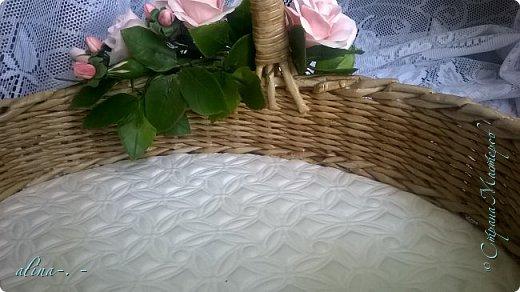 """Корзинка №1.Лепили цветы из глины """"Mоdena Soft"""",а листья из глины """"Fleur"""".Плетение-верёвочка из 2-х трубочек.Загибка из 4-х трубочек. фото 18"""