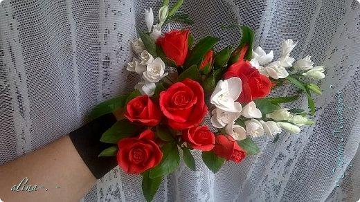 """Корзинка №1.Лепили цветы из глины """"Mоdena Soft"""",а листья из глины """"Fleur"""".Плетение-верёвочка из 2-х трубочек.Загибка из 4-х трубочек. фото 20"""