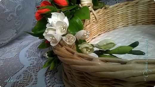 """Корзинка №1.Лепили цветы из глины """"Mоdena Soft"""",а листья из глины """"Fleur"""".Плетение-верёвочка из 2-х трубочек.Загибка из 4-х трубочек. фото 23"""