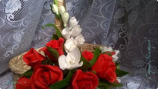 """Корзинка №1.Лепили цветы из глины """"Mоdena Soft"""",а листья из глины """"Fleur"""".Плетение-верёвочка из 2-х трубочек.Загибка из 4-х трубочек. фото 24"""