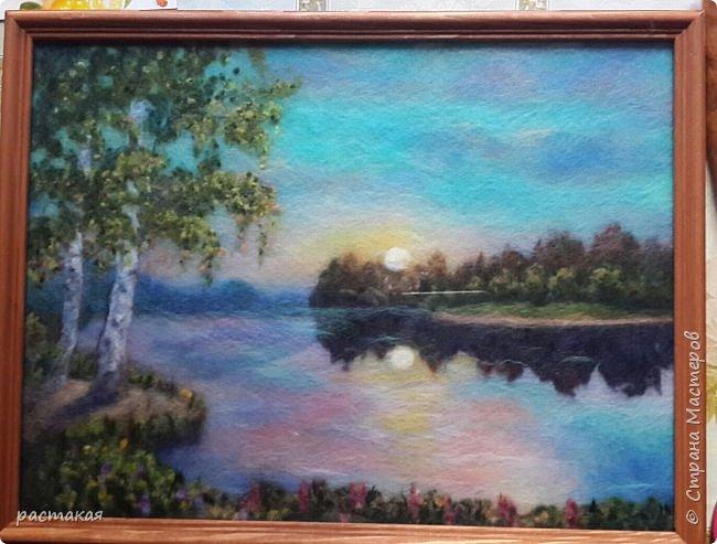 Картина выложена шерстью  и накрыта стеклом. По мастер классу моего учителя и очень хорошего человека  Яны Богдановой. фото 1