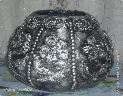 Эта ваза - из старого плафона. Внутри отделана атласной тканью. фото 1
