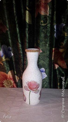 Вот такая нежная вазочка получилась из бутылки вина фото 5