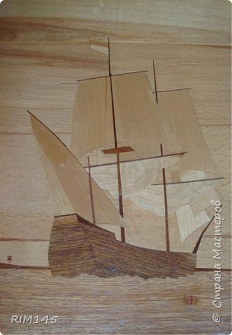 Моя самая первая работа в технике маркетри. Картина 'Новый день корабля'. 300х400. 1986 год. Весь шпон я привез домой на санках (был февраль) в огромной коробке из-под холодильника.  фото 10
