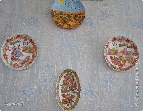 Здравствуйте! Хочу показать тарелочки, которыми мы украсили групповую комнату в садике. Взяли  обычные пластмассовые тарелки, салфеточки- за них огромное спасибо девочкам, которые их присылали по играм, и вот получилось! Декупажем это можно назвать с натяжением -),но оцените просто как панно -) фото 9
