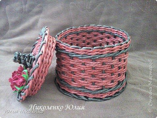 Шкатулка для мелочей. d – 17 см, высота – 12 см. без крышки. Ситцевое плетение в 2 трубочки. фото 4
