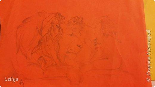 Моя первая картина после перерыва с рисованием в 15 лет по мотивам картины MICHAEL PARKES (1944)  Фон кстати был сделан золотой бумаги в виде облака.... но неуспела запечятлить :( фото 6