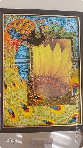 Моя первая картина после перерыва с рисованием в 15 лет по мотивам картины MICHAEL PARKES (1944)  Фон кстати был сделан золотой бумаги в виде облака.... но неуспела запечятлить :( фото 4