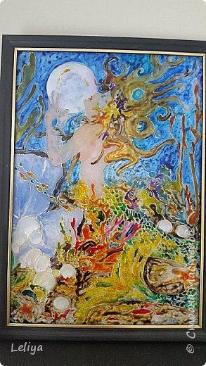 Моя первая картина после перерыва с рисованием в 15 лет по мотивам картины MICHAEL PARKES (1944)  Фон кстати был сделан золотой бумаги в виде облака.... но неуспела запечятлить :( фото 3