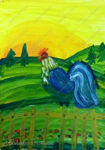 """Здравствуйте, жители замечательной Страны! Хочу начать рубрику """"Рисуем с детьми"""". В ней я планирую выкладывать работы детей  и немного этапов.  Этого петушка рисовали ещё весной с детками 6 лет.  фото 6"""