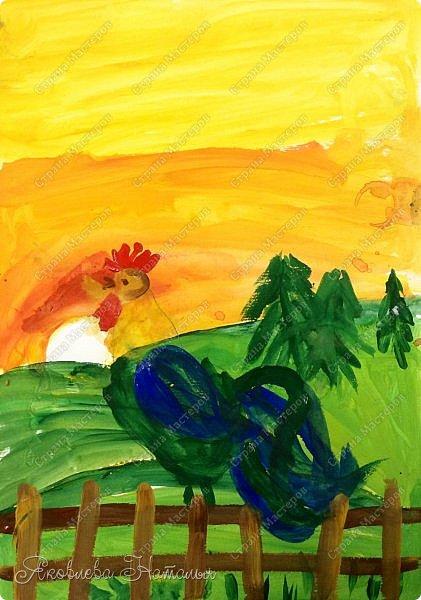 """Здравствуйте, жители замечательной Страны! Хочу начать рубрику """"Рисуем с детьми"""". В ней я планирую выкладывать работы детей  и немного этапов.  Этого петушка рисовали ещё весной с детками 6 лет.  фото 9"""