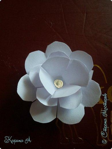Здравствуйте! Сегодня я хочу показать Вам МК вот таких цветочков. В СМ я не видела такого МК, поэтому если найдете, скажите мне. Для этого нужна Бумага, клей и полубусина. фото 17