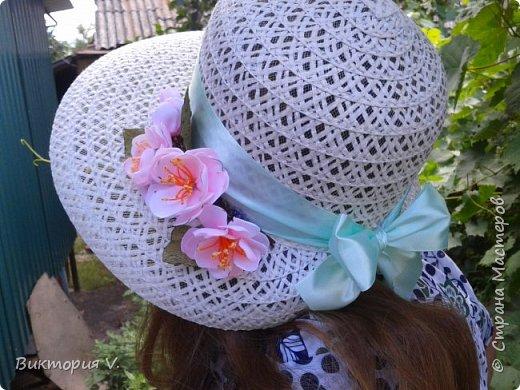 первая сакура. делала реанимацию старой неинтересной шляпы. ленту тоже заменила, была старая выцвевшая, цвет другой. фото 2