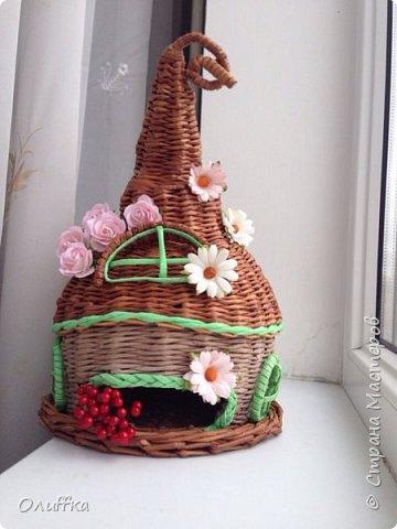 Добрый день всем! Плетением занимаюсь всего пару месяцев. Очень понравилась идея плетеного чайного домика, но никак не решалась. И вот в итоге что получилось, мой первый опыт в плетении домика.  Буду рада Вашей оценки и мнению. фото 1