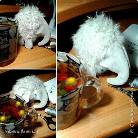Слоненок Джузи такая милая и маленькая, что совершенно легко помещается в одной ладошке!  Джузи настоящая сладкоежка, и сегодня ей очень повезло, так как ей подарили рожок мороженого)) Джузи так рада))) Она никогда не ела мороженое! Оказалось, мороженое очень вкусное, и его очень жалко есть :) фото 17