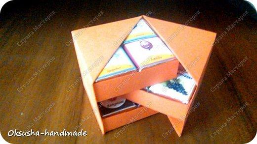 Моя проба пера по освоению дизайна новой коробочки на 36 шоколадок.  Отличная идея для подарка на день рождения, свадьбу, день учителя или другому поводу!  Просто идеальная коробочка, рассчитанная на три  яруса, в которых можно, как положить одинаковые по стилистике обертки, так и разные, например, как я из имеющегося материала, сложила этот кубик. Первый ярус - кофейная тематика, второй ярус - шоколад для вечно худеющих, третий слой - с днем рождения.  Спасибо за МК: http://stranamasterov.ru/node/998669?c=favorite. Пришлось, конечно, сделать свои расчеты, но коробочка вышла отличная! Буду теперь работать над внешним дизайном. Еще раз огромное спасибо за идею и МК мастерице Страны Мастеров! фото 3