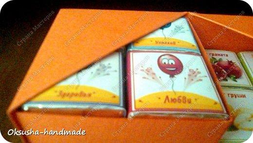 Моя проба пера по освоению дизайна новой коробочки на 36 шоколадок.  Отличная идея для подарка на день рождения, свадьбу, день учителя или другому поводу!  Просто идеальная коробочка, рассчитанная на три  яруса, в которых можно, как положить одинаковые по стилистике обертки, так и разные, например, как я из имеющегося материала, сложила этот кубик. Первый ярус - кофейная тематика, второй ярус - шоколад для вечно худеющих, третий слой - с днем рождения.  Спасибо за МК: http://stranamasterov.ru/node/998669?c=favorite. Пришлось, конечно, сделать свои расчеты, но коробочка вышла отличная! Буду теперь работать над внешним дизайном. Еще раз огромное спасибо за идею и МК мастерице Страны Мастеров! фото 7